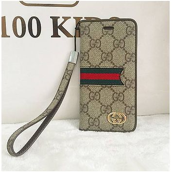 iphone6plus clamshell phone case iphone 6S leather case 7plus all-inclusive protective cover 5S lanyard GUCCI