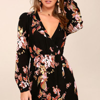 In Bloom Black Floral Print Wrap Dress