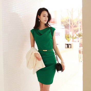 Green Pleated Sleeveless Bodycon Dress With Belt