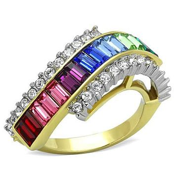 WildKlass Stainless Steel Ring Two-Tone IP Gold (Ion Plating) Women Top Grade Crystal Multi Color