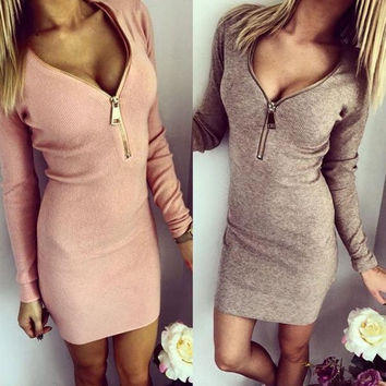 Women Sexy Zip V Neck Long Sleeve Winter Bodycon Party Dress = 5617189313