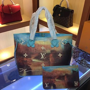 LV Louis Vuitton PAINTING LEATHER NEVERFULL HANDBAG TOTE BAG