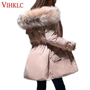 Winter Down Cotton Coat 2017 Women Puffer Jacket Goose Feather Fur Fashion Hood Warm Plus Size Parka Solid Color Outerwear H446