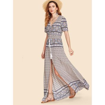 Button Up Tassel Tie Shirred Waist Ornate Print Dress