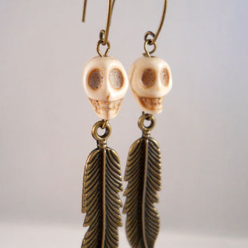 Ivory Skull Earrings with Metal Bronze Feathers