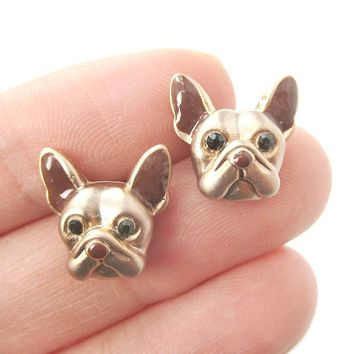 French Bulldog Puppy Face Shaped Stud Earrings | Animal Jewelry for Dog Lovers