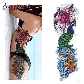 1 Piece Tattoo Sticker Full Flower Arm Fish Peacock Lotus Pattern Temporary Makeup Body Art Water Transfer Tattoo Sticker DZ-112