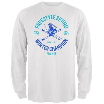 DCCKU3R Winter Games Freestyle Skiing Champion France Mens Long Sleeve T Shirt