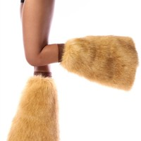 Clubstyle Coyote Brown Fluffies : Furry Leg Warmers and GoGo Covers