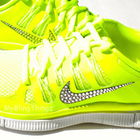 Nike Free Run 5.0+ Shoes - NEON YELLOW - Volt / Medium Base Grey / Summit White - Bedazzled with 100% Swarovski Elements Crystals