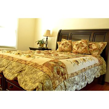 DaDa Bedding Floral Sun-Crossed Sandy Beige Green Bedspread Comforter Set (BM6118L)