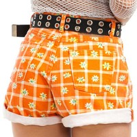 Vintage 90's Orange Blossom High-Waisted Shorts - S