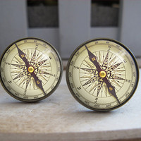 Mens Cuff Links , Vintage Brass Compass Design Cuff Link , CUSTOM Cufflinks , with a Gift Box