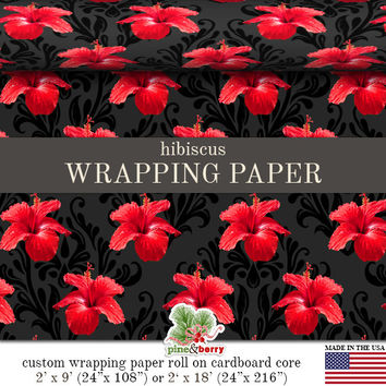 Hibiscus Flowers Wrapping Paper Roll | Elegant Matte Gift Wrap With Hibiscus Floral Pattern | Two Sizes 9 or 18 feet in length