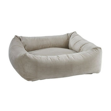 MicroVelvet Dutchie Bolster Dog Bed — Almond
