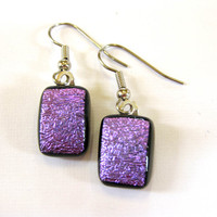 Purple Dichroic Earrings Dangle Pierce Glass by mysassyglass