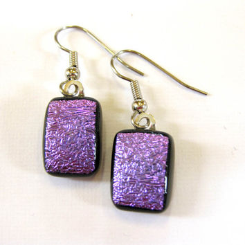 Purple Dichroic Earrings, Dangle Pierce Glass Earrings Jewelry - Cosmic Purple by mysassyglass