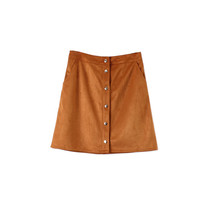 SUEDE BUTTON SKIRT (2 colors)