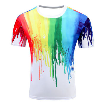 2017 New tie dye shirt graphics t shirt for men/women oil painting T-Shirt Summer Casual harajuku style man 3D tie dye t shirt
