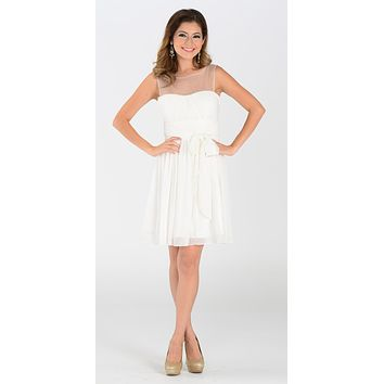 Short Sleeveless Chiffon Bridesmaid Dress Off White Illusion Neck