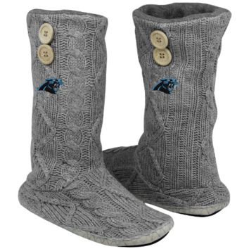 Carolina Panthers Women's Two-Button Cable Knit Boots - Gray