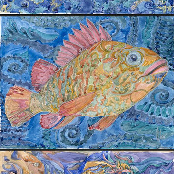 Fish, watercolor painting ,  mix media painting, illustration, art print, fantastic and imaginative art