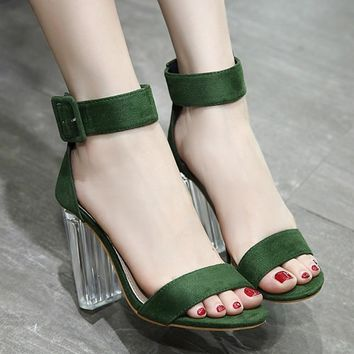 Hasp Ankle Wrap Open Toe Chunky High Transparent Heels Sandals