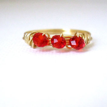 Red crystal beaded trio wire wrapped gold ring, three bead ring, ruby red ring, thumb ring, stackable ring, minimalist ring - 9