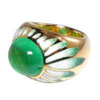 FRIEDRICH Columbian Emerald Cabochon Band Ring