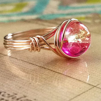 Hot Pink Ring, Pink and Yellow. Wire Wrapped Jewelry Handmade, 14kt Gold-Filled Ring