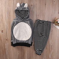 autumn New baby boy clothes Baby Boys Girls Kids Clothes Long Sleeve fox ears Hooded Top+Striped Pants Leggings Outfit Sets