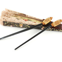 Vintage Asian Hair Sticks (Asian Hair Chopsticks, Brown Cream Floral, Flower Beads, 1970s Boho Hair Accessories)
