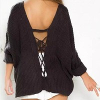 Dark Coffee Plain Tie Back Off Shoulder Backless Oversized Casual Pullover Sweater