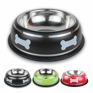 Stainless Dog Cat Bowl Bone Printed Most Dogs Feeding Bowls Puppy Food Stay Hydrated Dish Cat Feeder