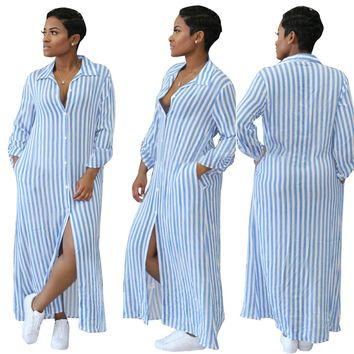 White and Blue Stripes Long Blouse