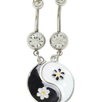 14G Steel Yin-Yang Daisy Navel Barbell 2 Pack