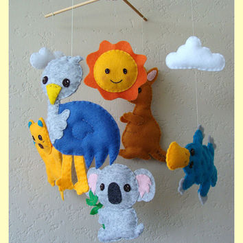 Hanging Mobile Australian wildlife theme Custom by hingmade