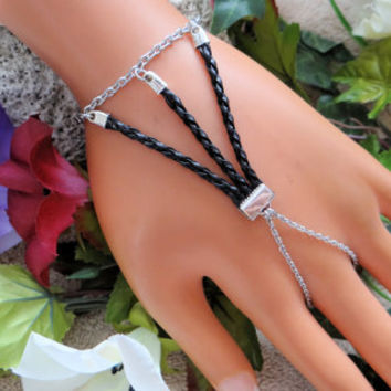 Stainless Steel Slave bracelet, Bracelet ring combo, Hand Jewelry, Leather bracelet