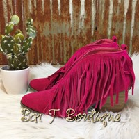Savannah Fringe Booties ~ Fuchsia