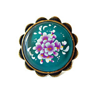 Lucite and Brass Ring Dark Turquoise Floral Transfer Size 6.5