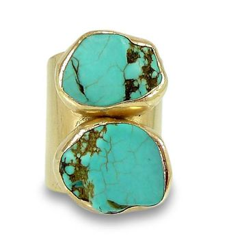 Raw Turquoise Ring set in Gold or Silver