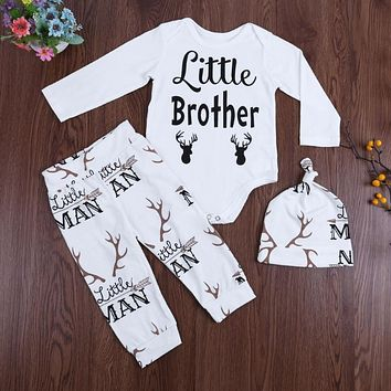 Newborn Baby Clothing Set Baby Boys Girls Reindeer Print Jumpsuit+Pants+Hat Outfit Kids Christmas Clothes