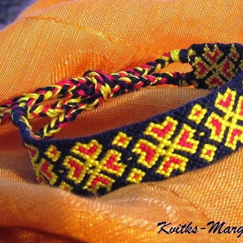 Handwoven friendship bracelet Ukrainian Ukraine Flower Red Black Yellow Wide gift girlfrind boyfriend