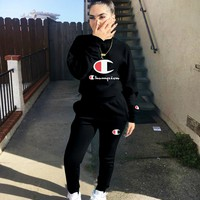 Champion New fashion letter logo print long sleeve top and pants two piece suit Black