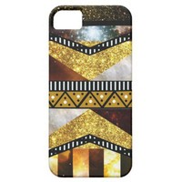 Hipster Chic Golden Glitter Galaxy Aztec iPhone 5 Cases from Zazzle.com
