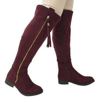 High Note Suede Knee High Boots in Burgundy