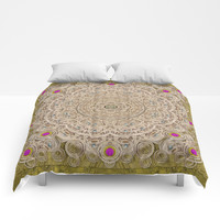 Silent in the forest of  wood pop art Comforters by Pepita Selles