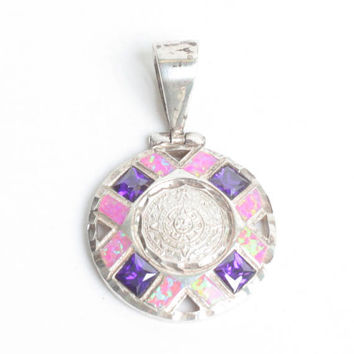 Mayan Calendar Pendant 950 Silver Faux Opal and Amethyst Taxco Mexico Cardenas