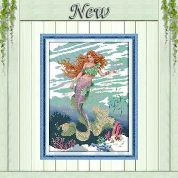 Mermaid beautiful girl decor painting counted print on canvas DMC 11CT 14CT kits chinese Cross Stitch embroidery needlework Sets
