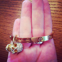 Love gold screw bangle bracelet with screwdriver and skull charm